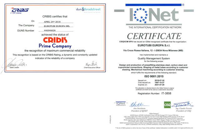 Certificazioni Eurotuibi Europa