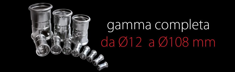 Eurotubi Pressfitting System - Gamma completa raccordi da 12 a 108 mm di diametro